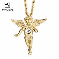 Kalen الدينية الايطالية الذهب اللون الملاك مع أجنحة قلادة قلادة رخيصة الملتوية سلسلة طويلة القلائد رجل محظوظ المجوهرات هدية
