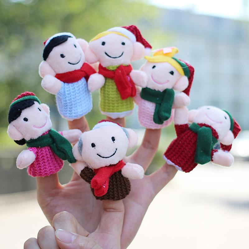 6pcs Cartoon Finger Puppet Baby Kids Plush Soft Toys Plush Characters Finger Toys Baby Story Fingers Toy Kid Christmas Gift