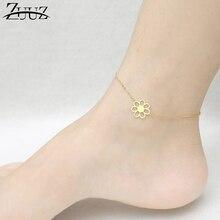 5d6faca11ba8 ZUUZ pulsera de tobillera en la pierna tobillo descalzo pie Cadena de acero  inoxidable de las