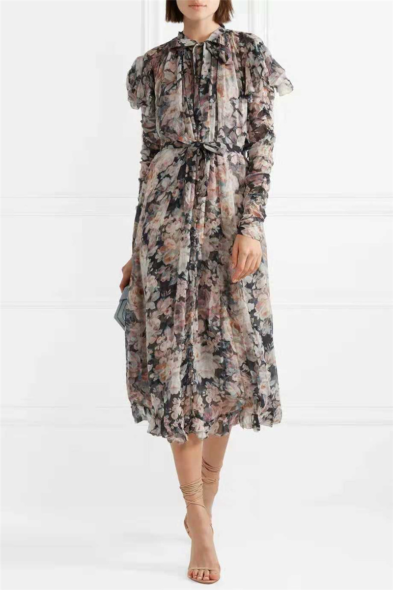 2019 New arrive flower print dress