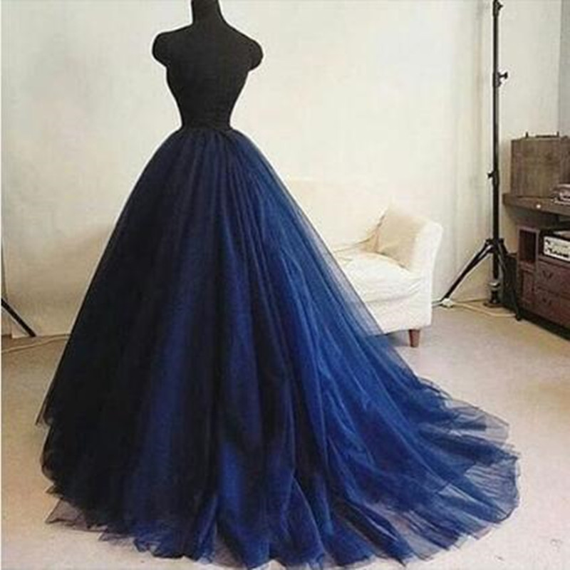Real Image Extra Puffy Long Tulle Skirts With Sweep Train Women Elegant Navy Blue Zipper Style Floor Length Tutu Skirts