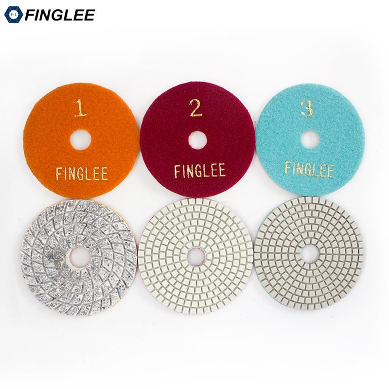 FINGLEE 4 colių 100 mm 3 žingsnių šlapio naudojimo deimantų poliravimo pagalvėlės marmurinės poliravimo pagalvėlės granitui lanksčios