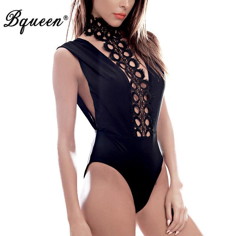 Bqueen 2019 Móda Sexy s hlubokým výstřihem krajky Halter Krátké kombinézu bez rukávů Slim Sexy Bandage Bodycon Kombinéza Velkoobchod