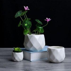Image 2 - Креативный керамический Алмазный геометрический цветочный горшок, простой суккулентный контейнер для растений, зеленые плантаторы, маленькие горшки для бонсай, украшение для дома