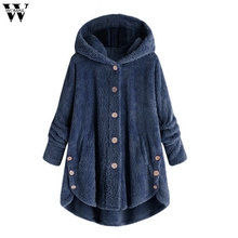 New Thin Wool Blend Fashion Women Button Coat Fluffy Turn-down Collar Outwear Jacket Casual Tops Hooded Pullover Loose Sweater