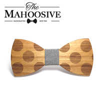 Mahoosive Novelty Solid Dot Wood Bow Tie For Men Classic Wooden Bowties Neckwear Creative Handmade Butterfly Wood Tie Gravata