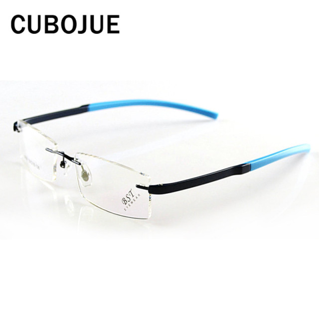 ce0e84556cc Cubojue Sport Rimless Glasses Men Women TR90 Style Eyeglasses Frames for  Student Youth Foldable Eyewear Prescription
