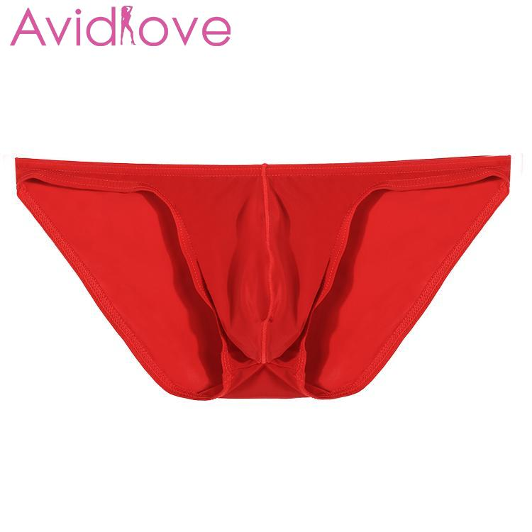 Avidlove Men Brief Breathable Ice Silk Triangle Underpants Solid Brief Underpants Perspective Erotic Sexy Underwear 7 Colors