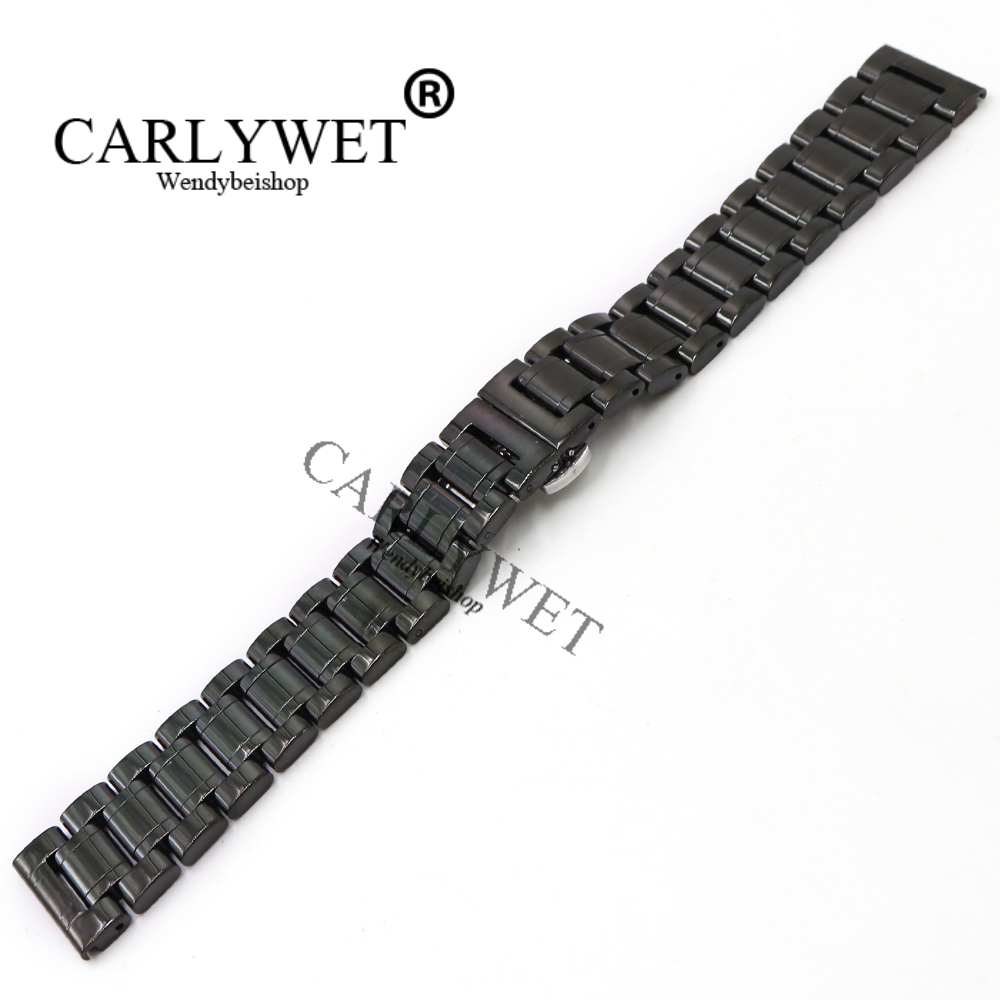 CARLYWET 14 16 18 19 20 21 22 24 26 28 30mm Wholesale Black Stainless Steel Replacement Wrist Watch Band Bracelet Strap Belt carlywet 23mm black 316l stainless steel replacement watch strap belt bracelet with case metal frame for fitbit blaze 23 watch