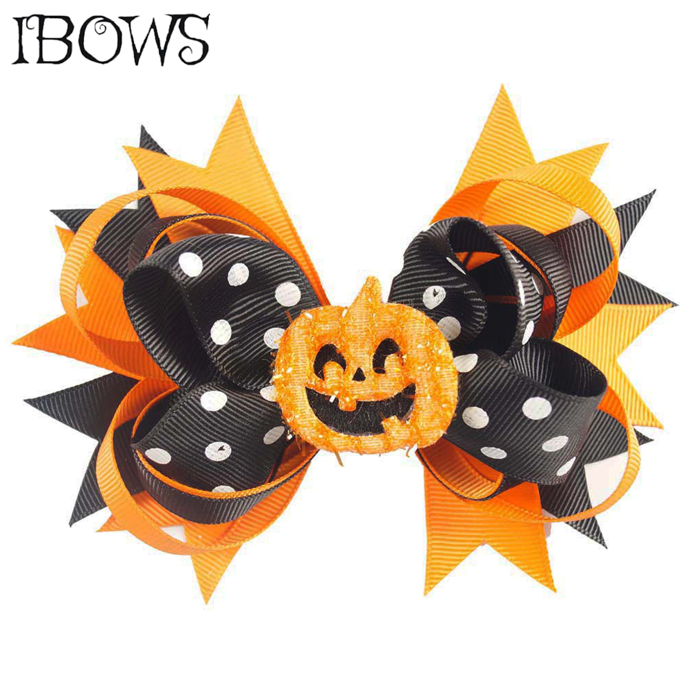 5'' Printed Polka Hair Bows Halloween Smile Pumpkin Hair Clips For Kids Girls Layered Festival Handmade Hairpin Hair Accessories