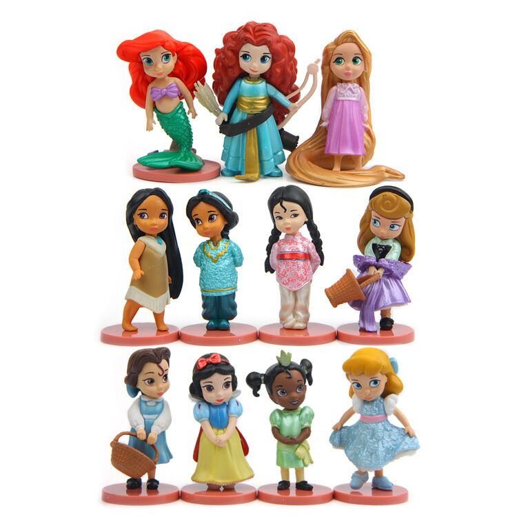 Disney Princesses Toys 11pcs/Set 8cm Mermaid Snow White Ariel Bella Tinker Bell Pvc Action Figure Doll Kids Toys Gift disney 10cm q version snow white princess alice mermaid figure alice in wonderland ariel the little mermaid pvc figure model toy