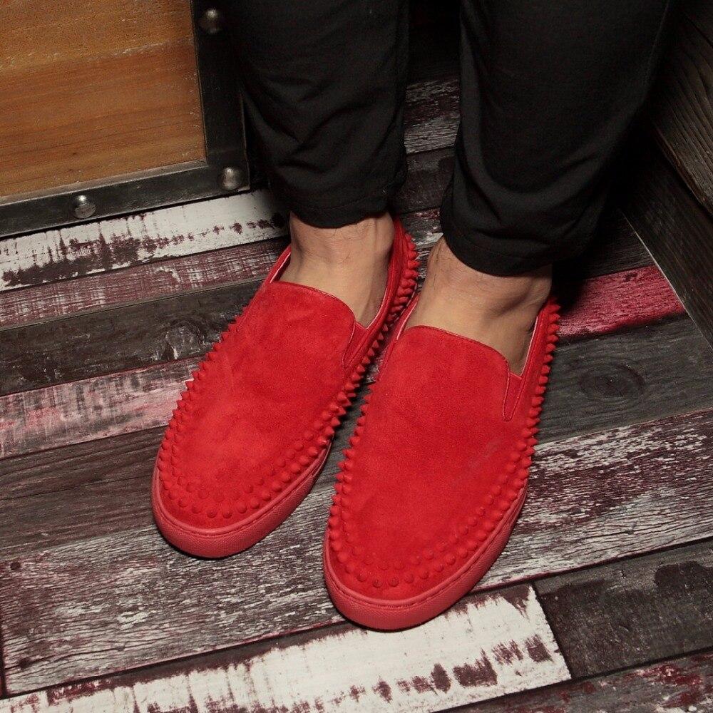 Deslizar Condução Verão Mocassins Barcos Homens Pico Respirável Genuíno Rebites Sapatos Couro Hombre Primavera Flats Preto Vermelho Sobre SwP6Bgqwc