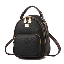 2019 New Leather Small Women Backpacks Zipper Shoulder Bag Female Phone Bags Lady Portable Backpack for Girls Casual Style women backpacks personality modeling hit the color of the small female backpack multi bag casual genuine leather shoulder bags