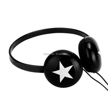 Rockpapa Stereo White Star Adjustable Headphones Headset for Boys Girls Kids Children Teens Gift / Black