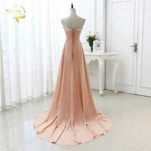 Image 2 - vestido de festa vestido longo 2020 Open Leg Lace up Sweetheart Neck Beading Crystal Formal Long Chiffon Evening Dresses OL4311