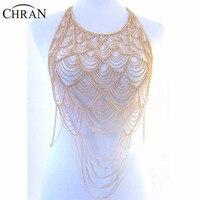 Chran Full Metal Body shoulder Chain Silver Gold Layered Europe Tassel Bib Necklace Bikini Harness Belly Dress Jewelry BSN205
