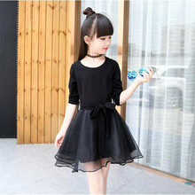Girls Dress 2017 Spring Girls Dresses Long Sleeve Sweet Lace Princess Dress Children's Clothing
