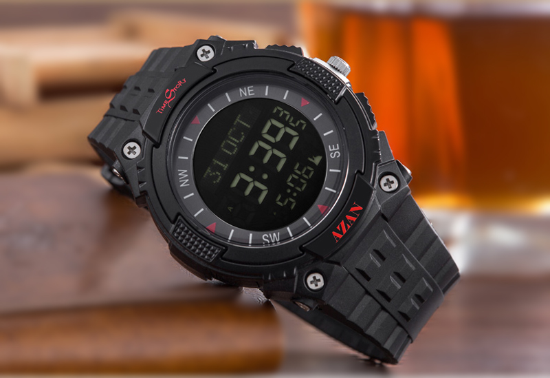 Muslim Azan watch with Arabic Language Muslim Sport Wristwatch for with Prayer Alarm Suport OEM LOGO MOQ 50 Pieces