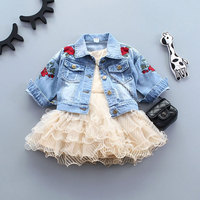 Baby Girls Embroidery Rose Flower Denim Jackets For Newborn Fashion Toddler Baby Outerwear Jean Coats Infant