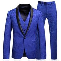 Men Floral Suits Wedding Groom Suits Pant Vest 3 Pieces Designs Royal Blue Tuxedos Shawl Lapel