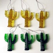 6pcs Custom ins Style Hand made Murano Glass cactus Figurines pendant fairy garden decoration art statues Ornaments accessories