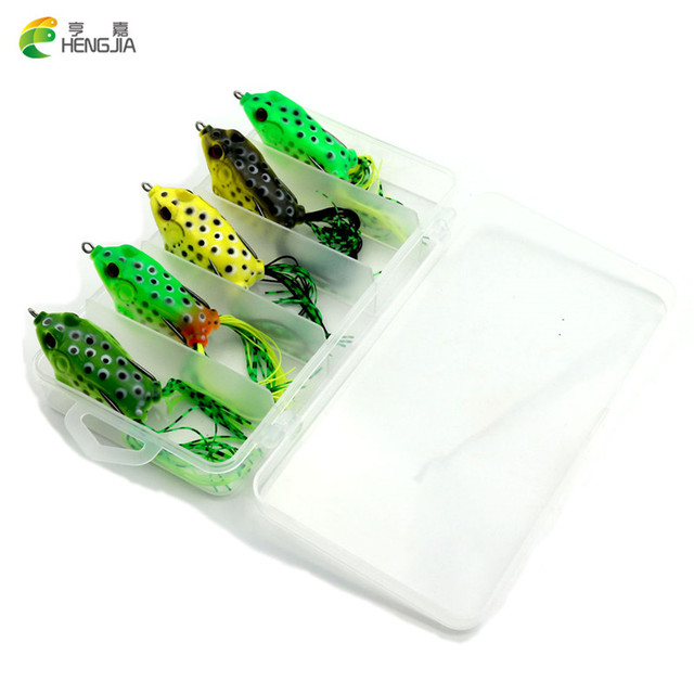 HENGJIA 5pcs Frog Fishing Lure with box mix color isca artificial 2016 soft frog fishing lure Snakehead pesca fishing tackle