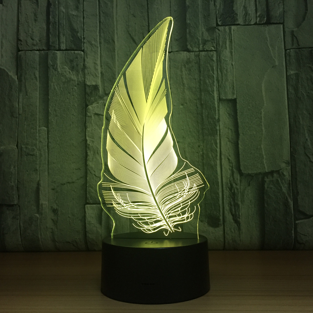 Feather USB 3D Lamp 7 Colors Touch Bedroom Lights Atmosphere Decoration Light Halloween Christmas Family  Kids Gifts