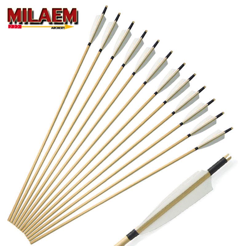 """6/12Pcs 31"""" Handmade Wooden Arrows 5"""" Turkey Feather White Archery Recurve Bow Longbow For Outdoor Hunting Shooting Accessories"""