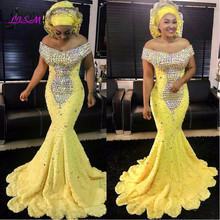Yellow Crystal Evening Dresses Gonna Long Mermaid Gowns African Formal Party Dress Plus Size Prom Vestido Longo