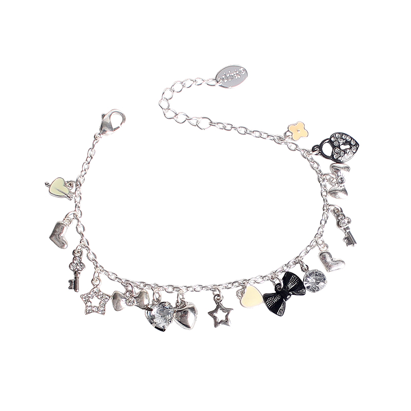 Inlay Crystal Jewels Stars Hearts Lock Bowknot Key Charms Bracelet Fashion Cute Alloy Bracelet