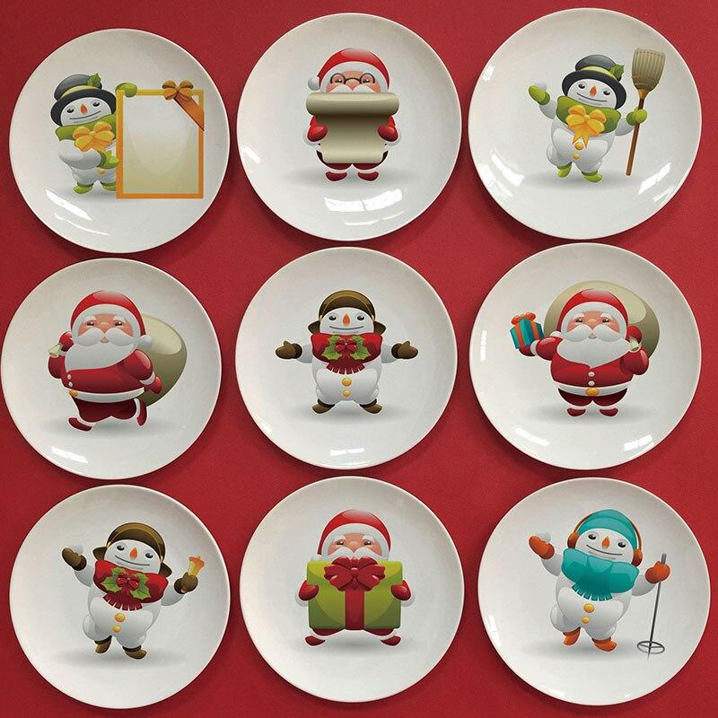 wholesale 2016 Santa Claus image decorative plate Christmas dish as children gift Diy customize printed creative plate