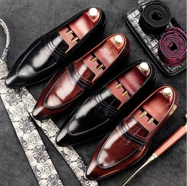 Genuine Leather Mens Dress Shoes Slip-On Pointed Toes Patchwork Male Flats Loafers Striped Moccasin Gommino Spring Casual ShoesGenuine Leather Mens Dress Shoes Slip-On Pointed Toes Patchwork Male Flats Loafers Striped Moccasin Gommino Spring Casual Shoes