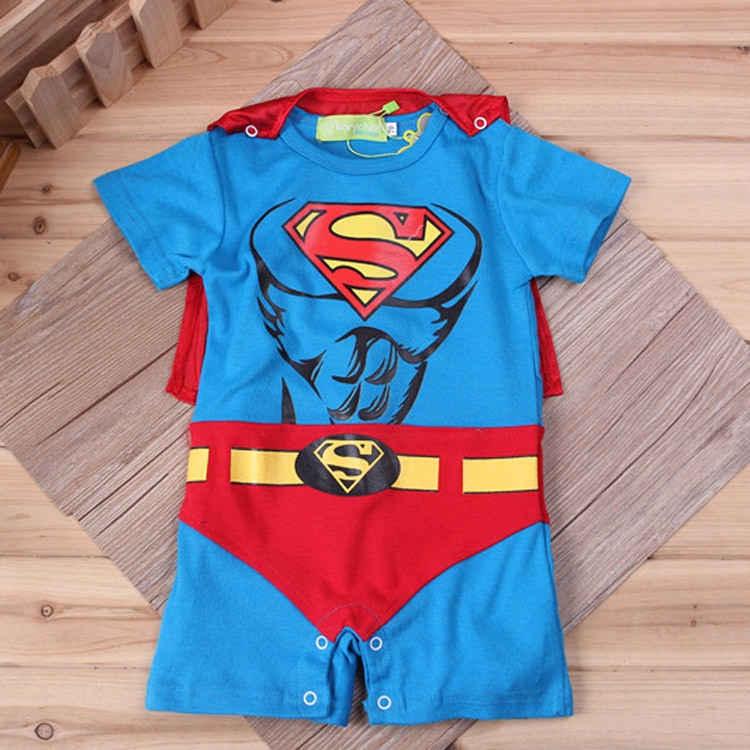 Baby Boy Romper Superman Long Sleeve with Smock Halloween ...