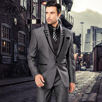 MD 024 Men Suits Slim Fit Peaked Lapel Tuxedos Grey Wedding Suits With Black Lapel For