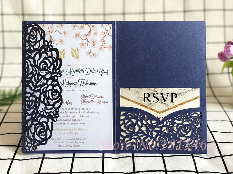 50pcs New Laser Cut Wedding Invitations Cards Set/Rose Greeting Cards/Customize Business Invitations RSVP Cards Party Supplies 60 x cards kraft envelopes stickers set season 4 dessert mini postcards as festival greeting cards