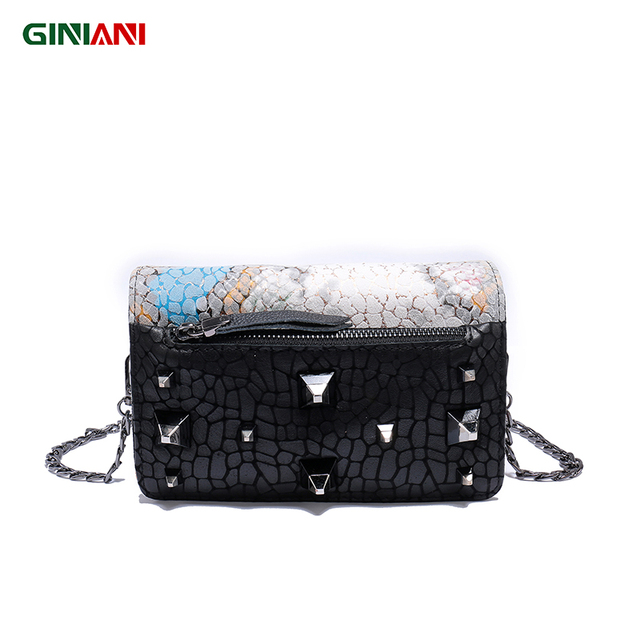 GINIANI Genuine Leather Chromatic Serpentine Crossbody Flap Chain Bag Tungsten Steel Solid Studs Small Shoulder Bags