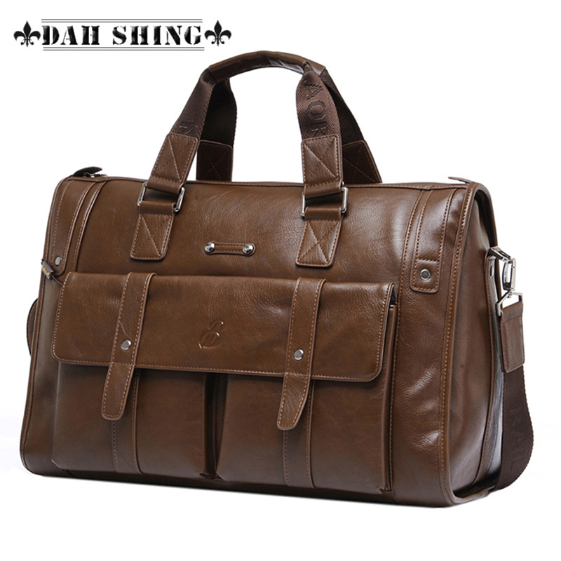 ФОТО 3 colors Large capacity Microfiber complex Leather Men's Travel bags briefcase messenger bag 2 sizes