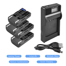4Packs SB-LSM80 Li-ion Battery 7.4V 900mAh +1Port Battery Charger with LED For SAMSUNG VP-DC175 VP-DC565 VP-DC575 SC-D357 L15