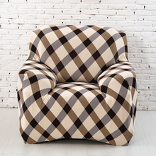 Grid Cloth Art Sofa Cover Spandex Sectional Stretch Printed Slipcover Polyester Plaid Sofa Covers for Home/office/hotel