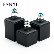 FANXI Free shipping Custom MDF wrapped with black PU leather jewellery presentor leatherette shop display