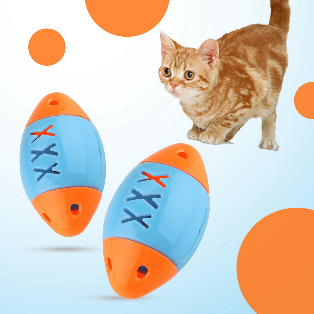 NICEYARD Cat Football Training Toys Pet Cat Toys Plastic Rugby Sound Toys Color Random Pet Products