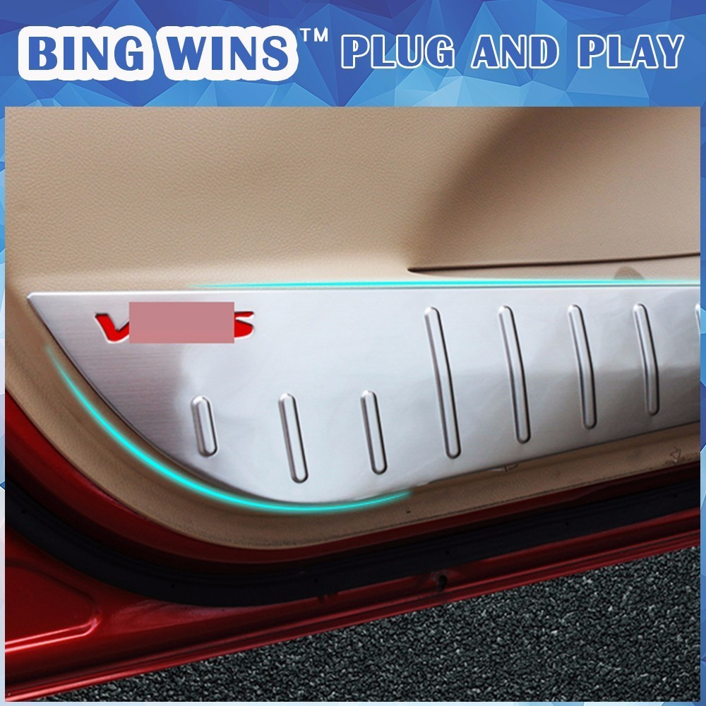 For Toyota Vios 2014-2017 Car Stainless Steel Door Anti-Kick Pad Door Anti fouling protection Cover Decoration Car-styling 2 colors car styling protector side edge protection pad protected anti kick door mats cover for peugeot 3008 2014 2015 2016