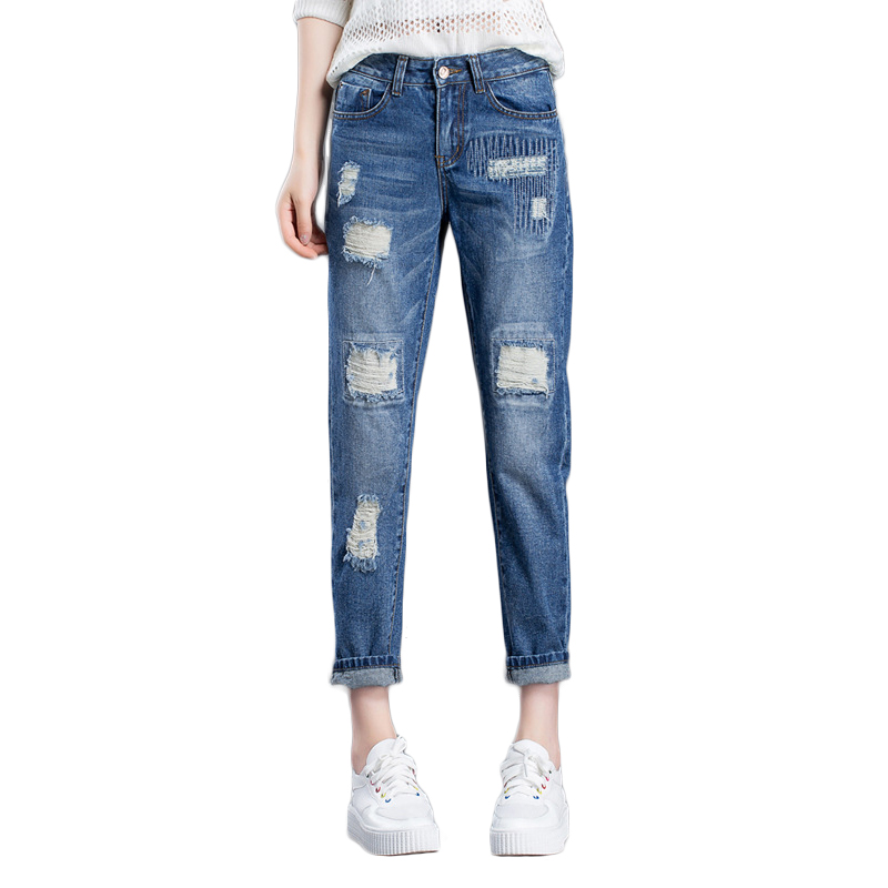 Summer Women Loose Vintage Harem Denim Pants 2017 New Fashion Ladies Mid Waist Hole Jeans Simple Blue Jeans For Women Plus Size new summer vintage women ripped hole jeans high waist floral embroidery loose fashion ankle length women denim jeans harem pants