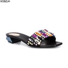 Женские кожаные сандалии со стразами, черные, красные, желтые сандалии на плоской подошве, дизайнерские шлепанцы, лето 2019