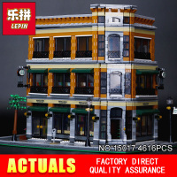 2016 New LEPIN 15017 4616Pcs Creator Starbucks Bookstore Cafe Model Building Kits Minifigure Blocks Bricks Compatible