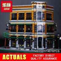 2016 New LEPIN 15017 4616Pcs Creator Starbucks Bookstore Cafe Model Building Kits Minifigure Blocks Bricks Compatible