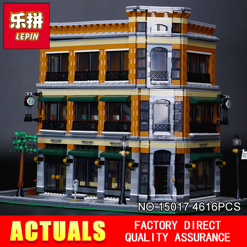 New LEPIN 15017 4616Pcs Starbucks Bookstore Cafe Model Building Kits  Blocks Bricks Compatible for Children Toys Gift lepin 22001 pirate ship imperial warships model building block briks toys gift 1717pcs compatible legoed 10210