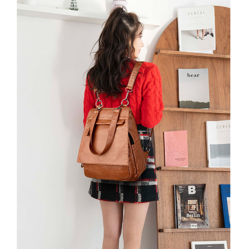 Retro Soft Leather Backpack Women Multifunction Backpack Female Fashion Bagpack Girls School Bag Travel Backpack 2019 Sac A Dos