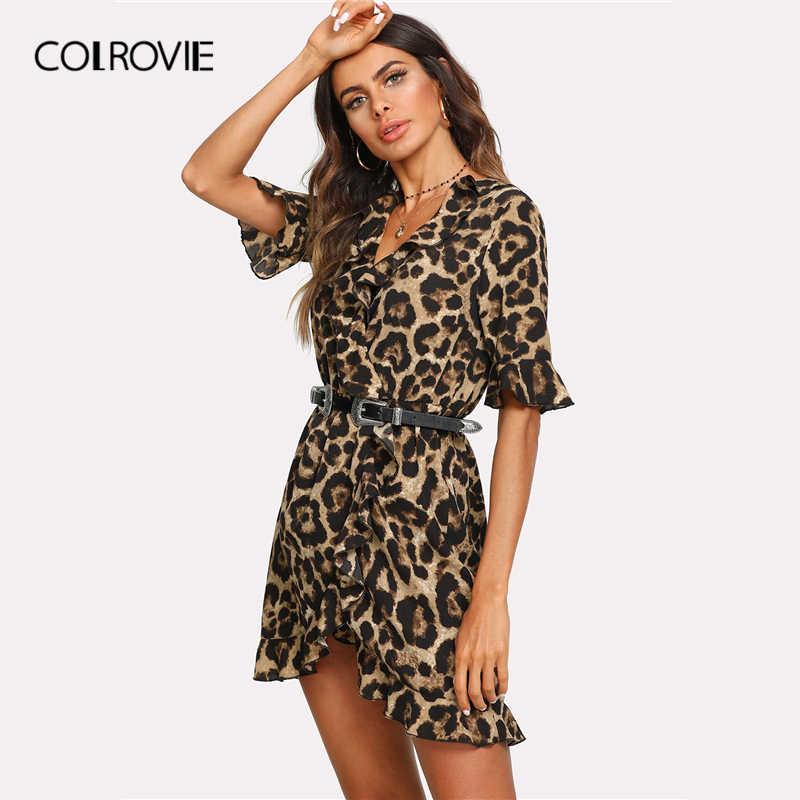 b8e1d3d51824 ... COLROVIE Leopard V Neck Short Sleeve Women Dress 2019 Streetwear Ruffle Surplice  Wrap Summer Dress Night ...