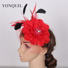 Many colors high quality silk flower fascinator veil hats hair clips bridal hair accessoires Great party